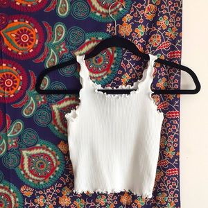 Oak + Fort White Crop Ribbed Tank Top